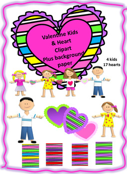 Valentine Kids, Hearts and Background Paper Clipart