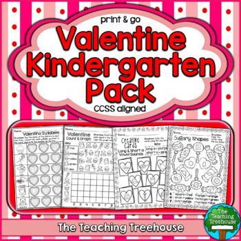 Valentine Kindergarten Pack ~ Print & Go, No Prep ~ CCSS Aligned