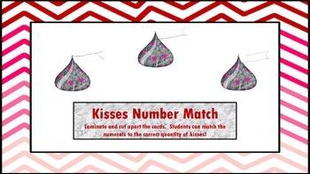 Valentine Kisses Number Match