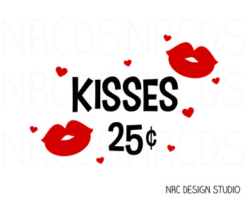 Valentine Kisses SVG Cutting File - Commercial Use SVG, DXF, EPS, png
