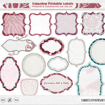 Valentine Labels, Printable Label ClipArt, Red, Pink & Teal