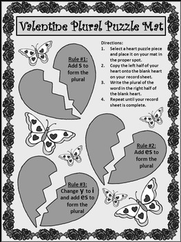 Valentine's Day Game Activities:  Valentine Plural Noun Puzzles Activity Packet