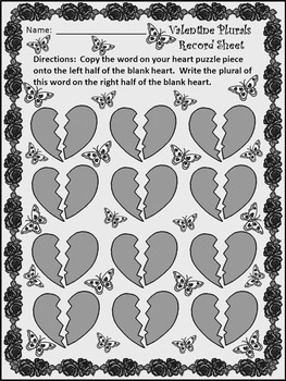 Valentine's Day Game Activities:  Valentine Plural Noun Puzzles Activity - BW