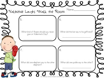 Valentine Laughs- A Math Review and Valentine Joke Walk the Room Gr.2