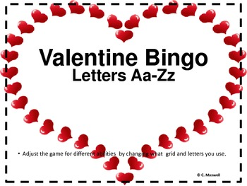Valentine Letter Bingo For Different Age Groups Tpt