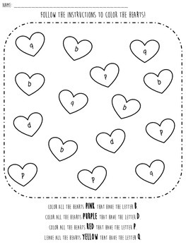 Valentine Letter Identification Worksheet focus on B,D,P,Q