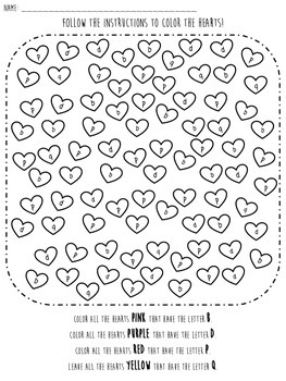 Valentine Letter Identification Worksheet focus on BDPQ by