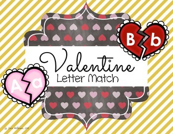 Valentines Day Upper and Lowercase Letter Match by Erin Holleran