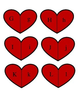 Valentine Letter Match Up Center