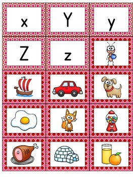 Valentine Letter Matching Cards: Upper- and Lowercase plus Initial Phoneme