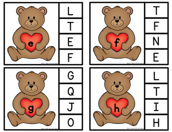 Valentine Teddy Bear Letter Matching Clip Cards