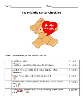 Valentine Letter Rubric by Nancy Melriv  Teachers Pay Teachers