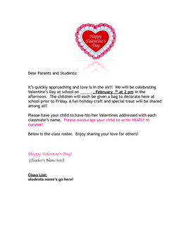 Valentine Letter to Student and Parent