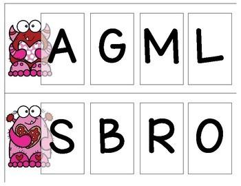 Valentine Letters & Beginning Sounds Bingo