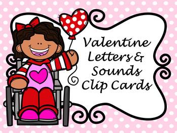 Valentine Letters and Sounds Clip Card BUNDLE