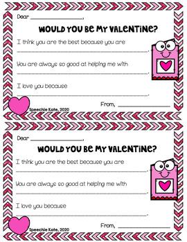 Valentine Letters to Parents