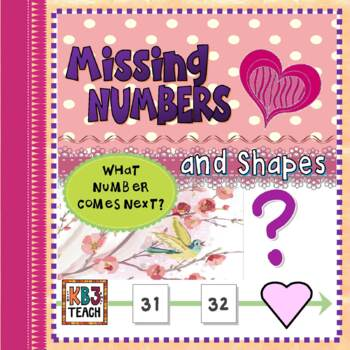 Valentine's Day Math: Number Line Missing Numbers (1-100) + Shapes