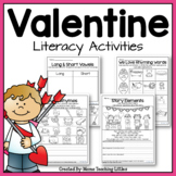 Valentine Literacy Activities - No Prep - Just Print