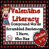 Valentine Literacy Activities Compound Words, Scrambled Se