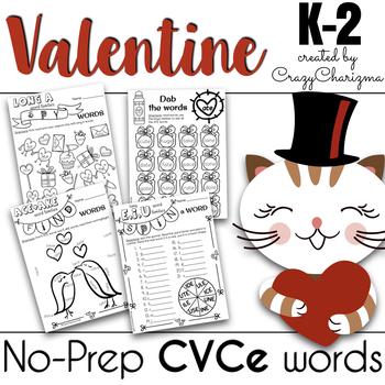 Valentine Literacy (NO PREP) - CVCe Word Work