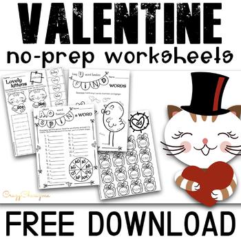 Valentines Day Activities Kindergarten | February Worksheets
