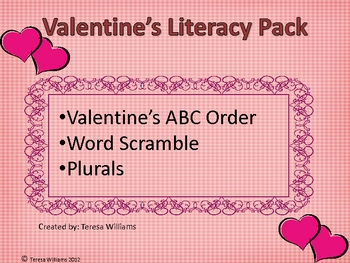 Valentine Literacy Pack