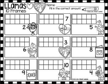 Valentine Llamas Ten Frames (includes worksheet)