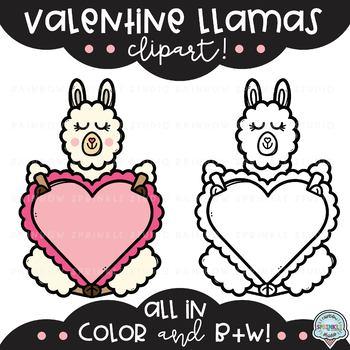 Valentine Llamas {llama clipart}