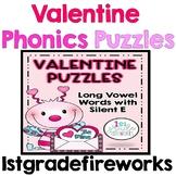 Valentine Long Vowel  Silent E  Phonics Puzzles