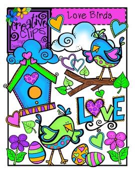 Love Birds Valentine Clipart {Creative Clips Clipart}