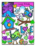 Love Birds Valentine Clipart {Creative Clips Clipart}