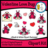 Valentine Love Bug Clipart Kit (clipart, digital papers, &
