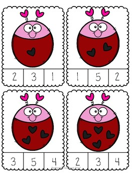 Valentine Love Bug Count and Clip {Dollar Deal}