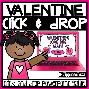 Valentine Love Bug Math Counting Drag and Drop PowerPoint Game