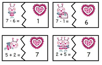 Valentine Love Bug Math Fact Families Addition and Subtraction
