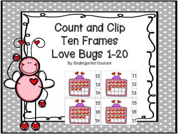 Valentine Love Bugs Count And Clip Ten Frames 1-20
