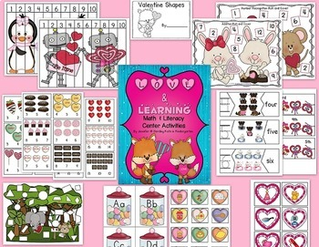 Valentine Math & Literacy Center Time Activity Pack!