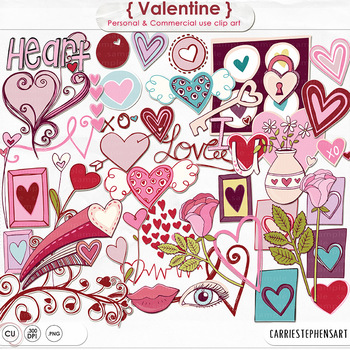Valentine Clip Art - Hand Drawn Hearts and Doodles - Pink and Red
