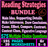 Reading Strategies BUNDLE. 575 Multiple Choice Questions. 39 Worksheets. Gr 5-6