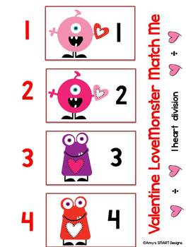 Valentine LoveMonster Match Me Division Facts