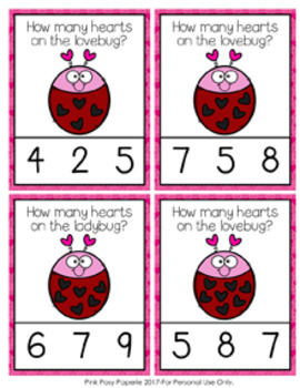 Valentine Lovebug Count and Clip Cards Numbers 0-10