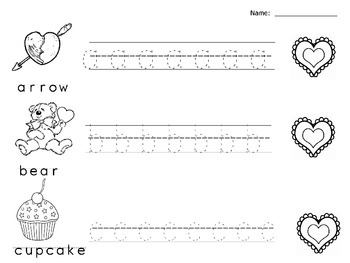 Valentine Lowercase Letter Tracing