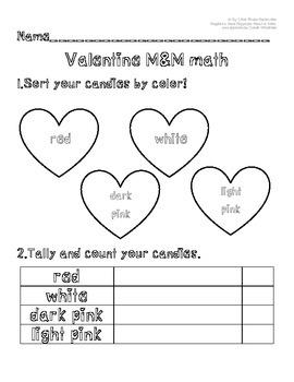 Valentine M&M candies math activity