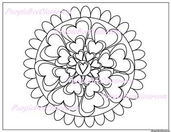 Valentine Mandala Coloring Page