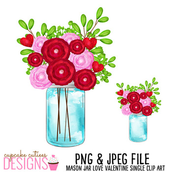 Valentine Mason Jar Single Clip Art Designs