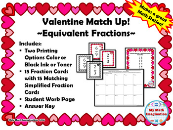 Valentine Match Up - Simplifying (Reducing) Fractions