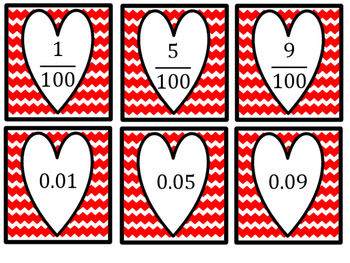 Valentine Match Up! Equivalent Fractions and Decimals