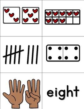 Valentine Match Up Number Cards