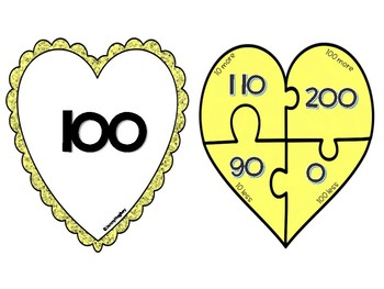 Valentine Math 10 more/less 100 more/less Differentiated Heart Puzzles -  2.7B