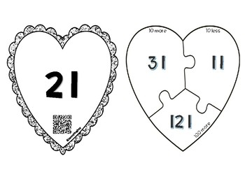 Valentine Math 10 more/less 100 more/less Differentiated Heart Puzzles - QRcodes